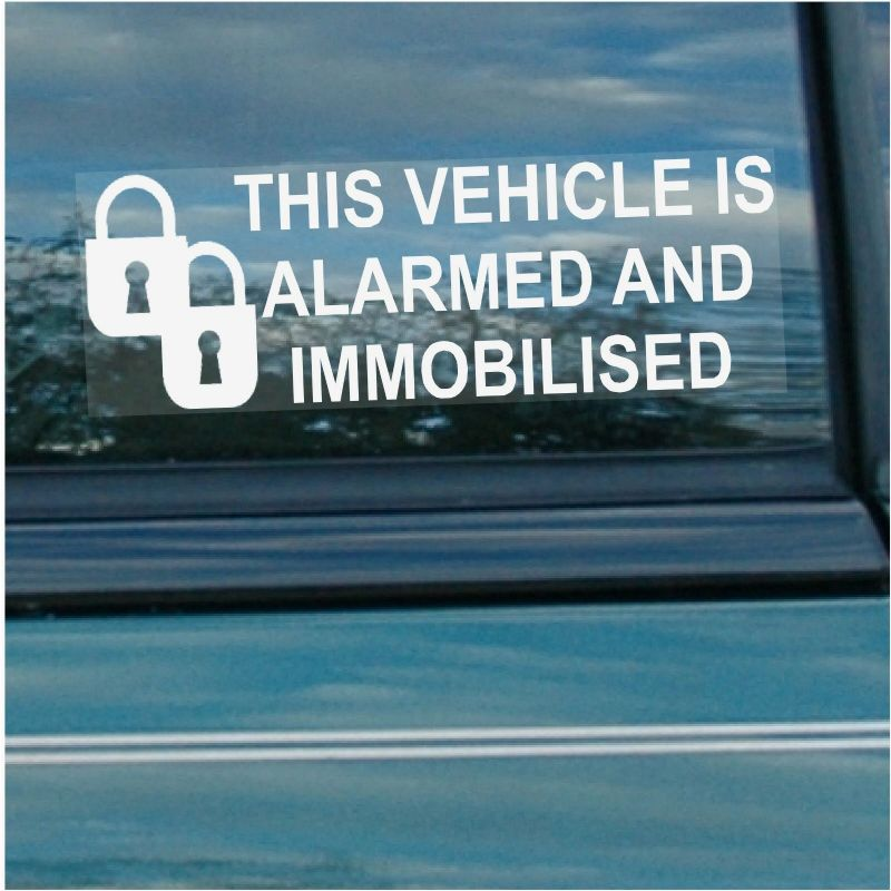 5 x Alarm and Immobiliser Fitted Stickers-PADLOCK DESIGN-Alarmed and Immobilised Security Warning Window Signs-Car,Van,Truck,Caravan,Motorhome,Lorry,Taxi